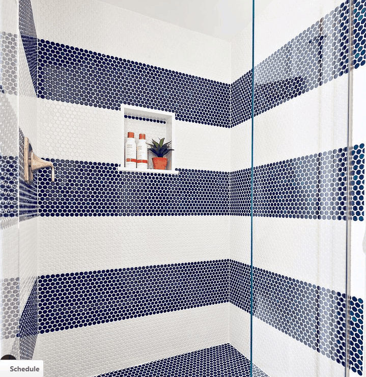 Bathroom Shower With Navy Blue And White Tiles