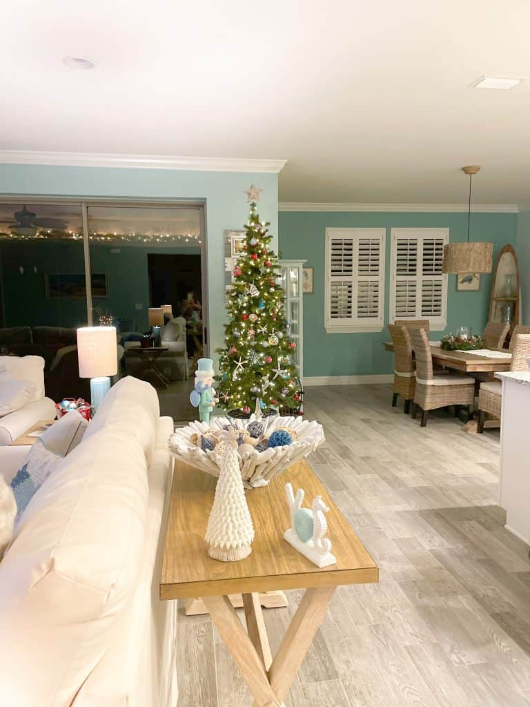 View from entryway into coastal dining room - holiday dining room decor ideas