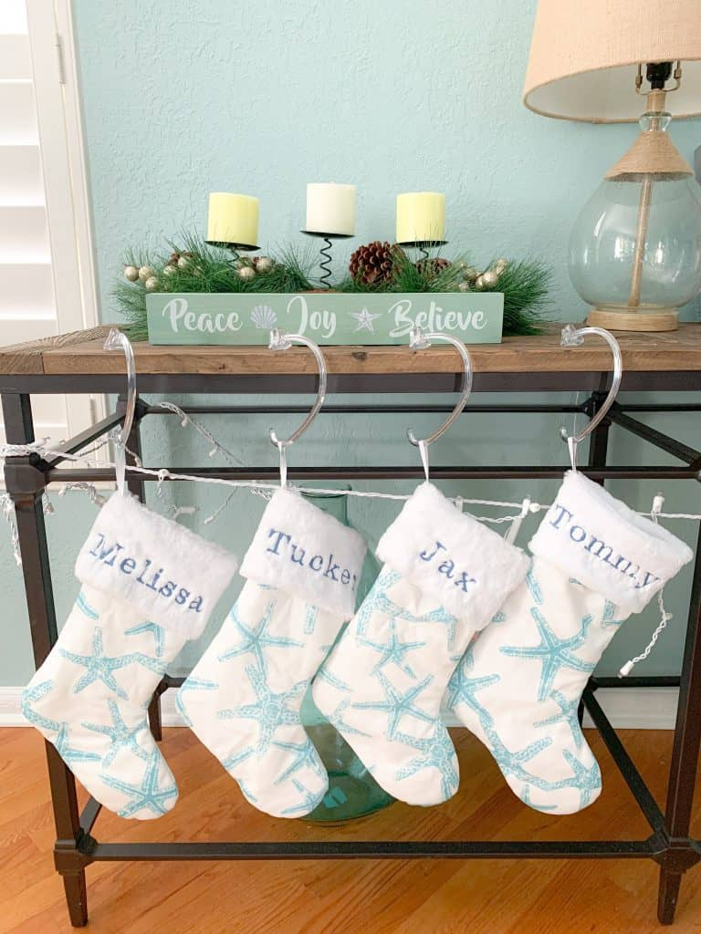 Starfish stockings with personalized names - Coastal Holiday Decor Favorites