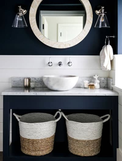 Stunning Navy Blue Bathroom Nautical Theme With White Shiplap Wall and Open Storage