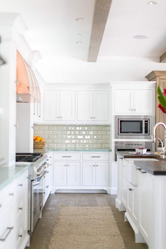 White Kitchen With Seafoam Green Countertops