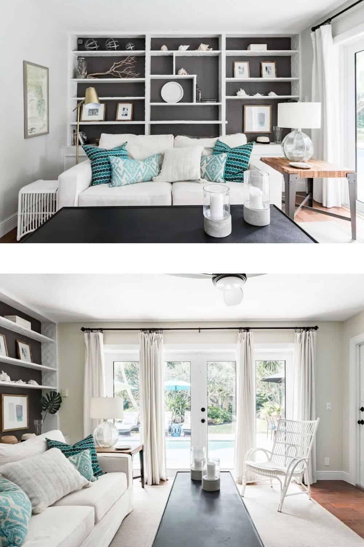 White teal black living room colors