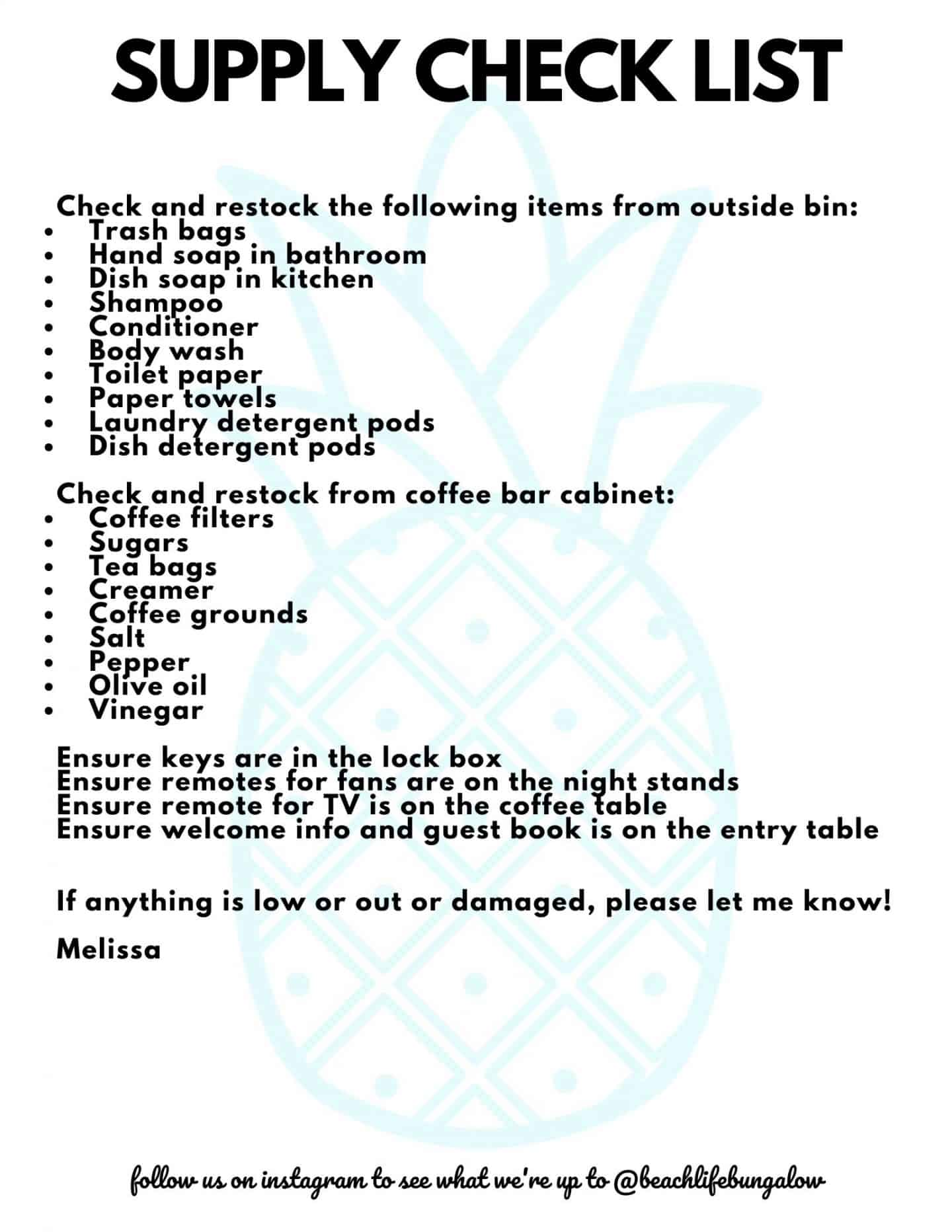 AirBnb Supply Checklist For Cleaners