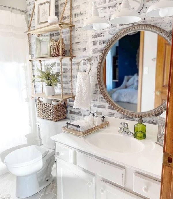 Coastal Rustic Bathroom - Brick White Washed Backsplash - Custom Rope Floating Shelf Above Toilet - Cute Wicker Baskets For Bathroom Organization