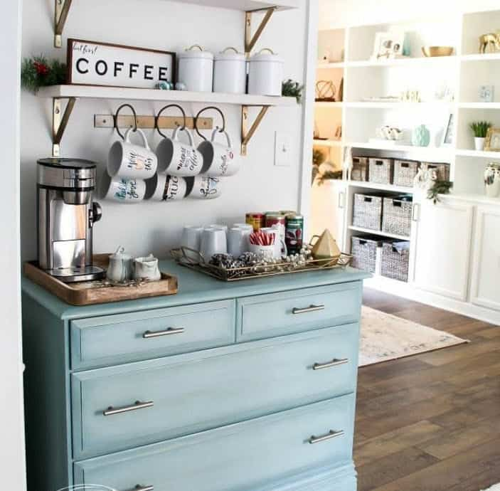 Coffee Bar With Old Dresser Painted Coastal Blue, Mounted Shelf Above For Coffee Supplies, Beautiful Coffee Station