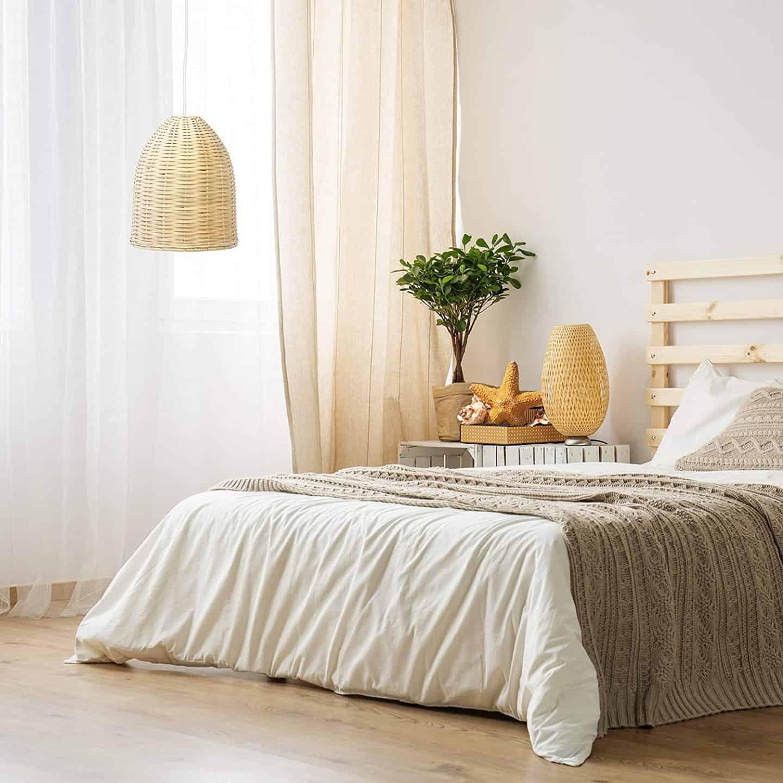 Beachy Bedroom Rattan Light Fixture