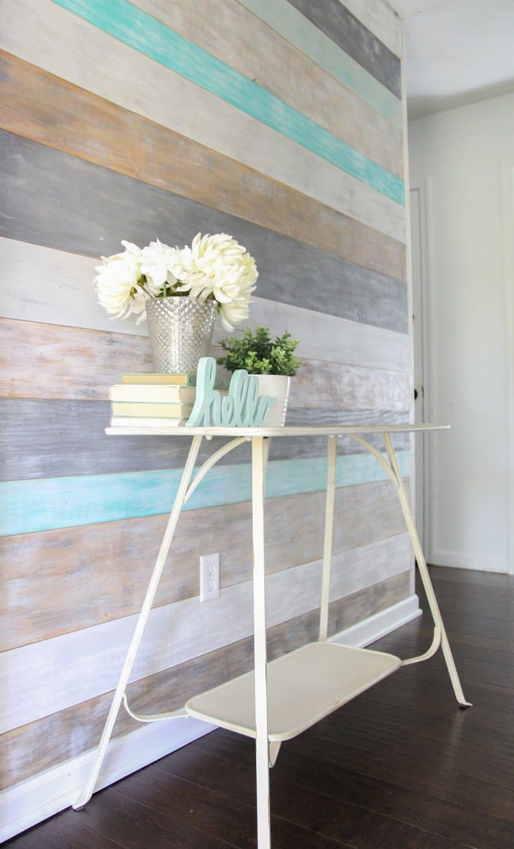 Colorful Plank Wall That Looks Like Shiplap!  Gray, Brown, White, Teal Turquoise Blue Wood Planks
