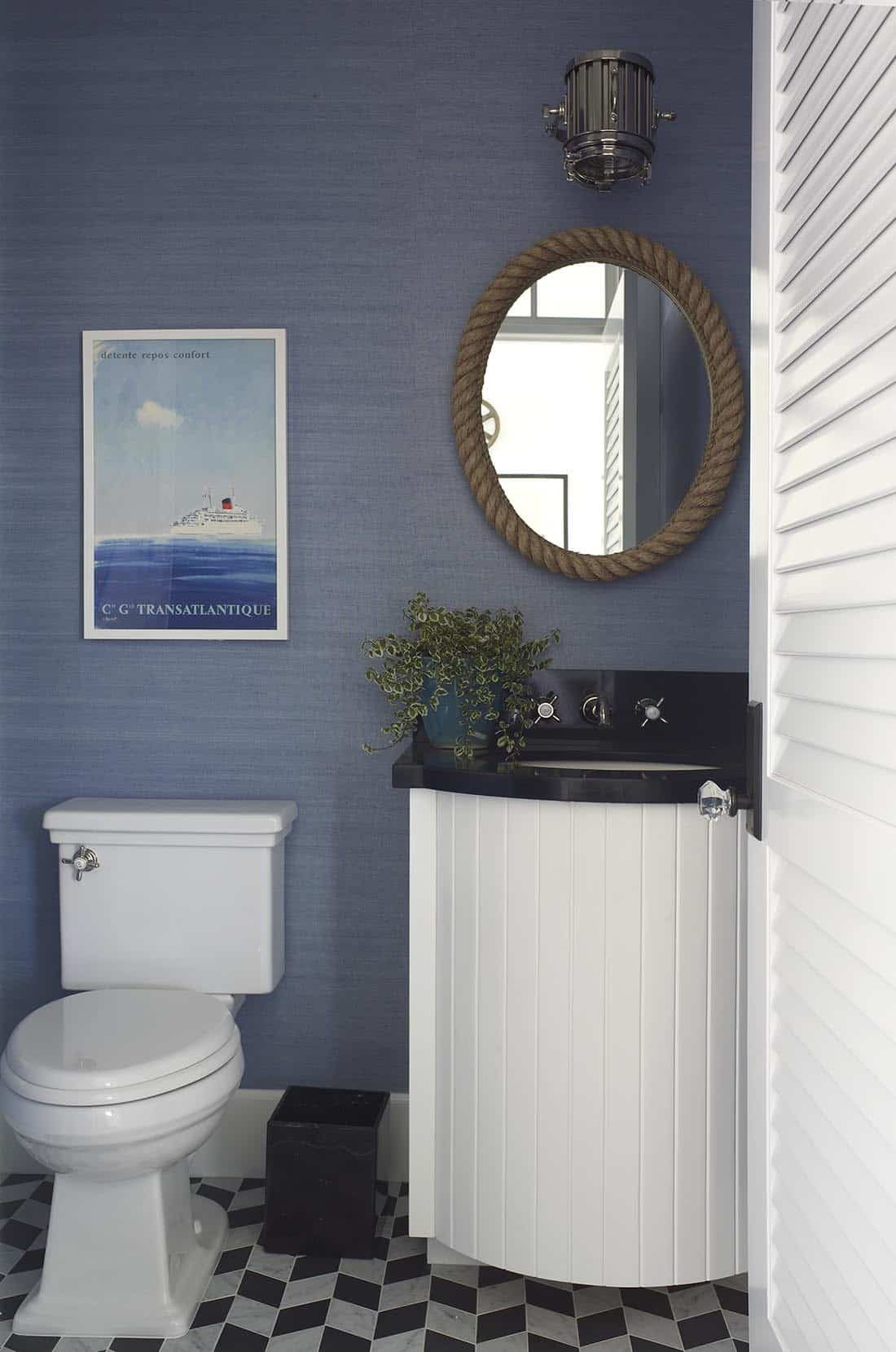 Burnham Designs Navy Blue White Bathroom With Nautical Accent Decor