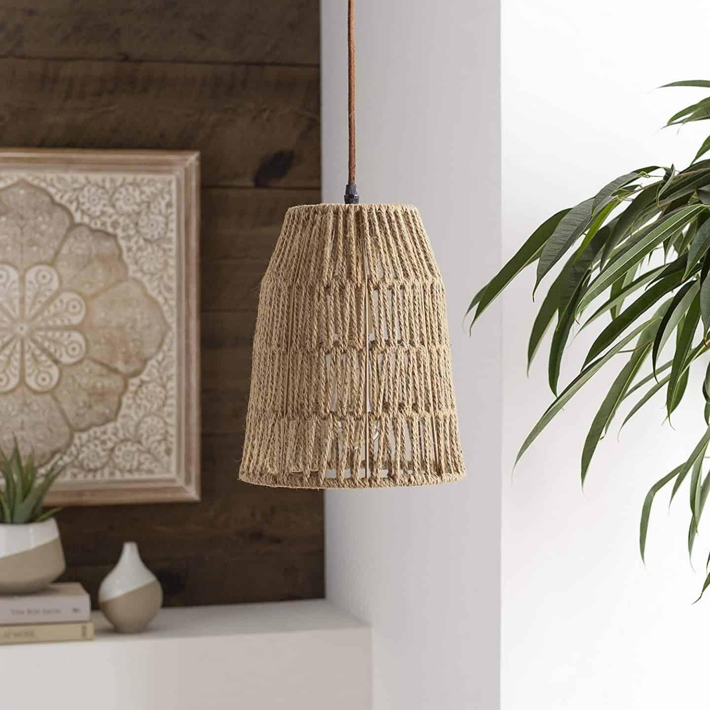 Tan weave pendant light