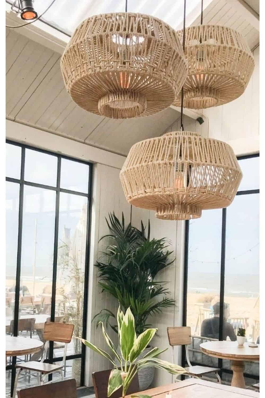 Set of unique rattan material lighting