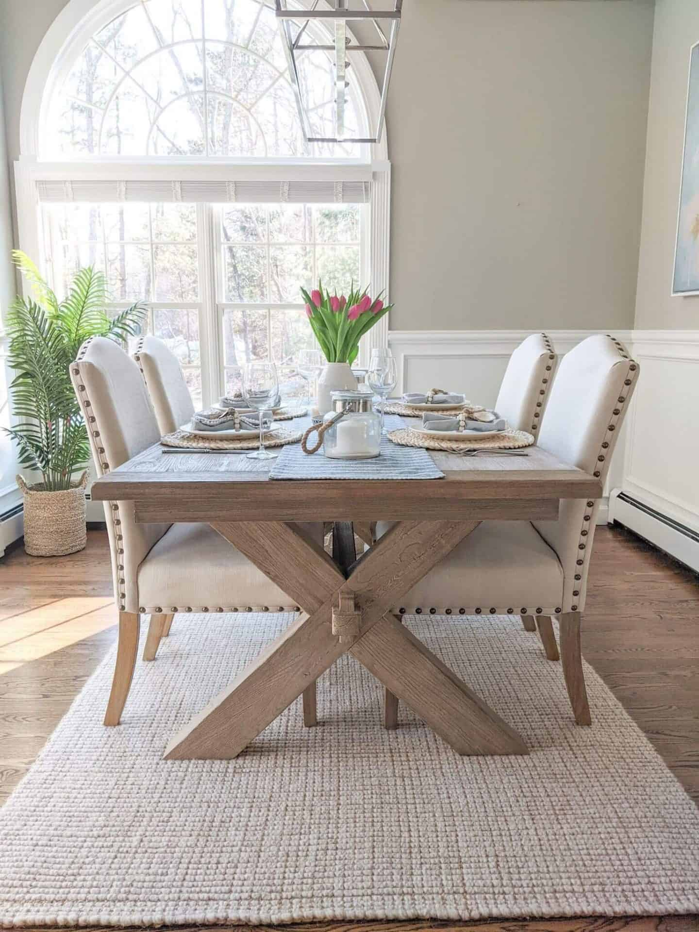 Casually Coastal Spring Dining Room Table - Decorating For Easter - Simple table design with neutral spring colors