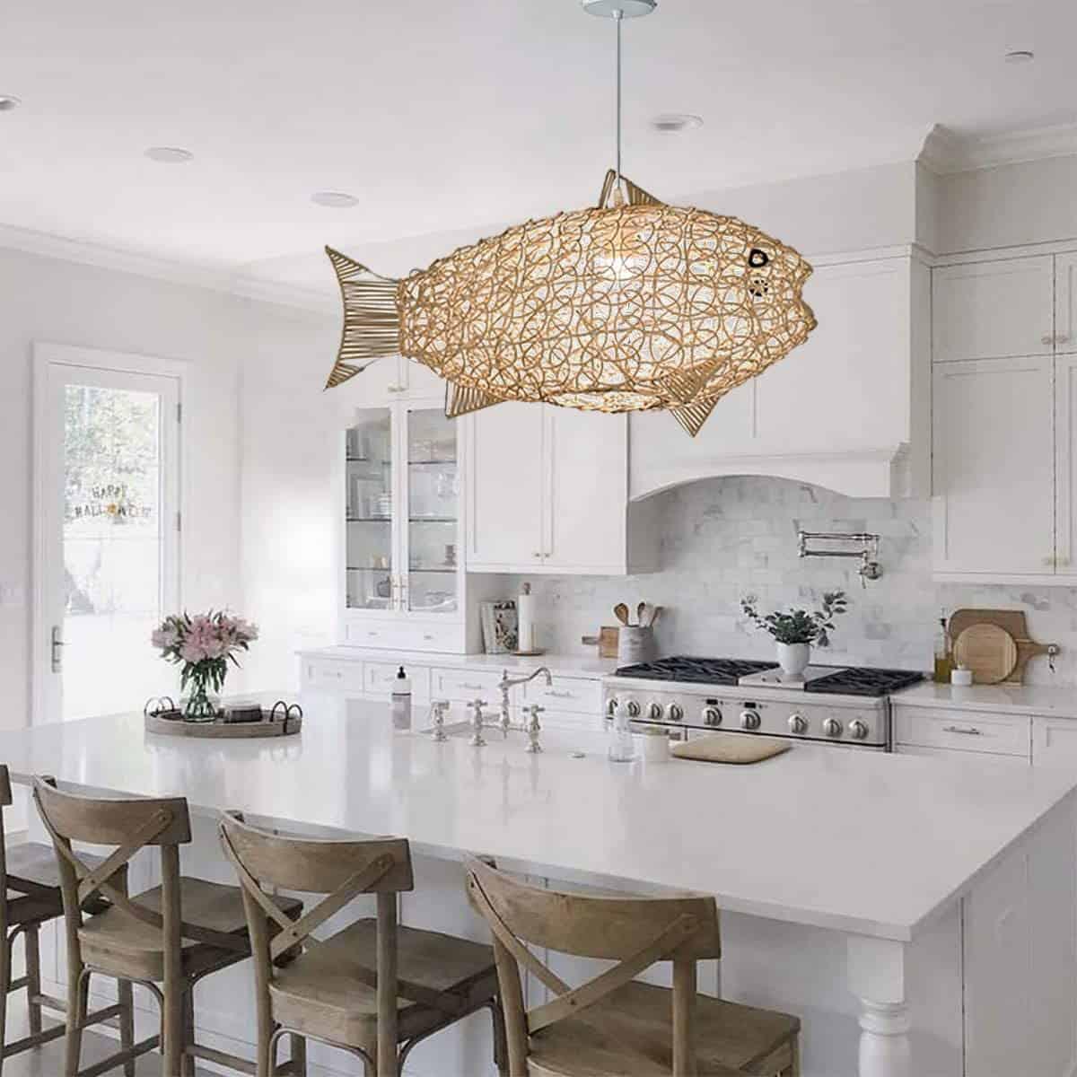 White kitchen with marble backsplash, fish shaped rattan pendant light fixture, rustic wood bar stools