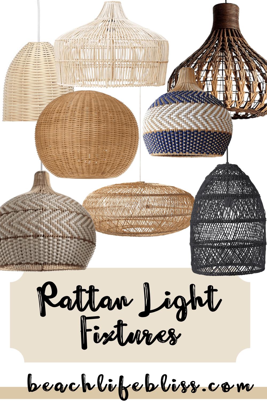 Rattan Light Fixture - Collage of rattan lights