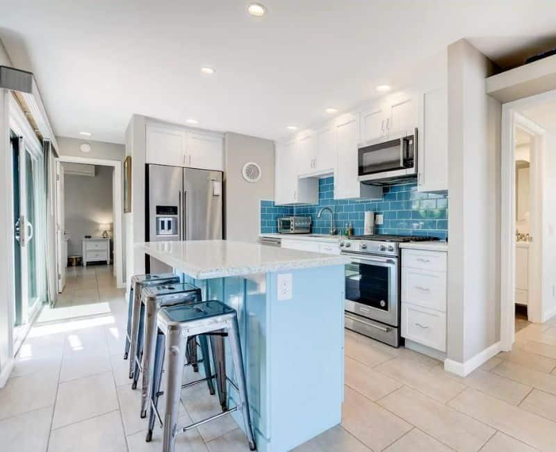Airbnb Kitchen Beachy Blue Subway Tile Backsplash