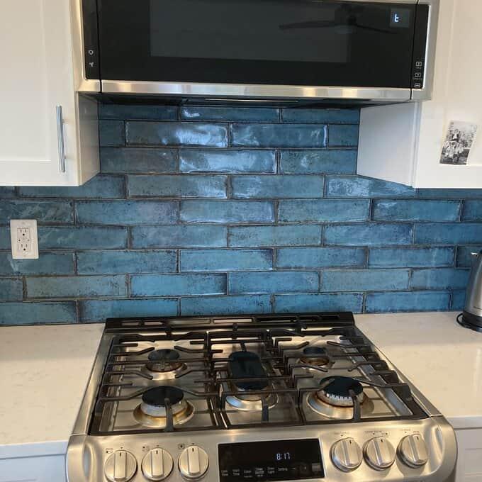 Bold Blue Kitchen Backsplash