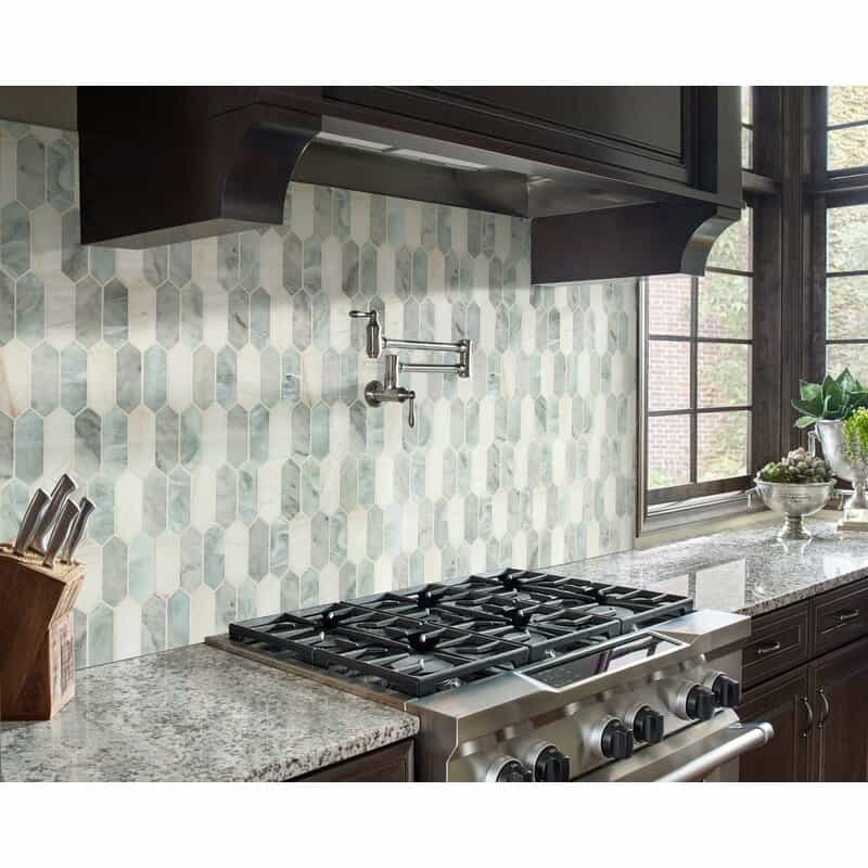 Coastal Kitchen Backsplash Ideas Natura Stone Mosaic Pattern With Blues  Grays and White
