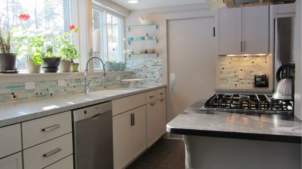 Kitchen With Blue Gray Mosaic Backsplash