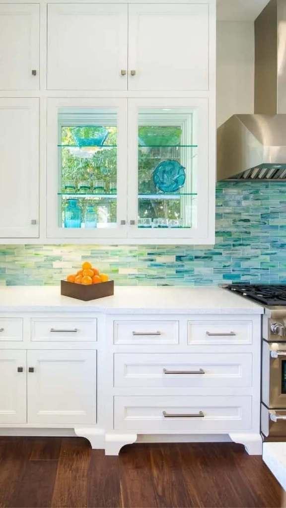 Multi Colored Blue Beachy Mosaic Tile Backsplash Kitchen