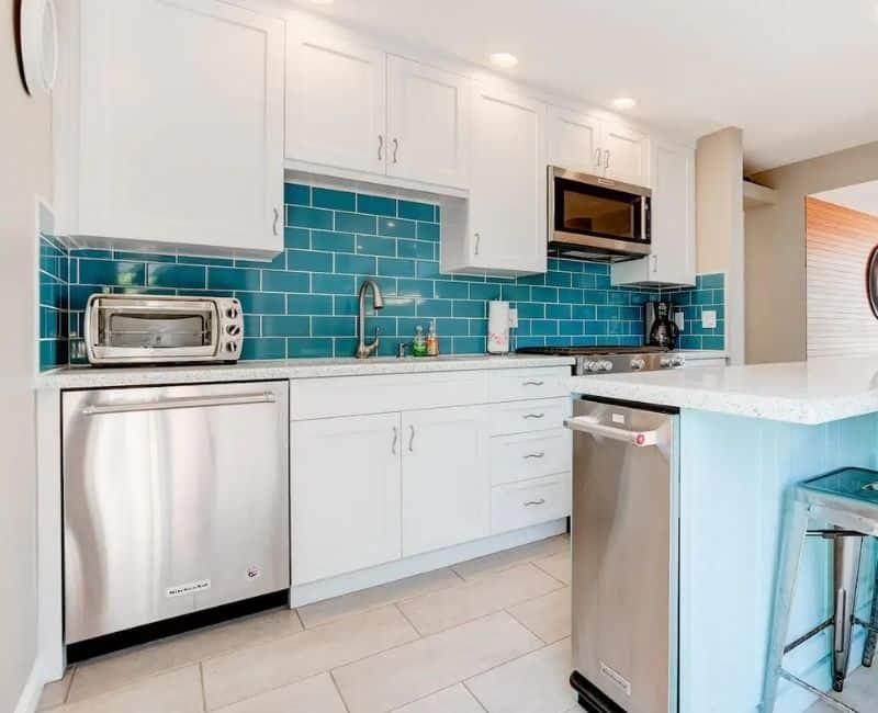 Turquoise Blue Kitchen Backsplash Subway Tiles