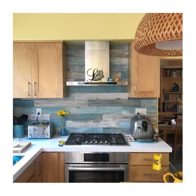 Wood look blue beachy tile backsplash in kitchen