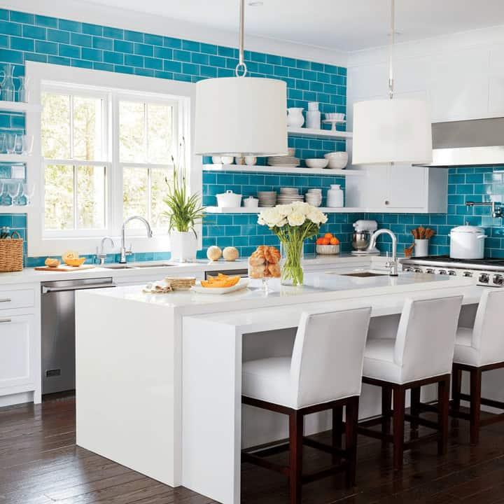 white kitchen turquoise kitchen backsplash full wall