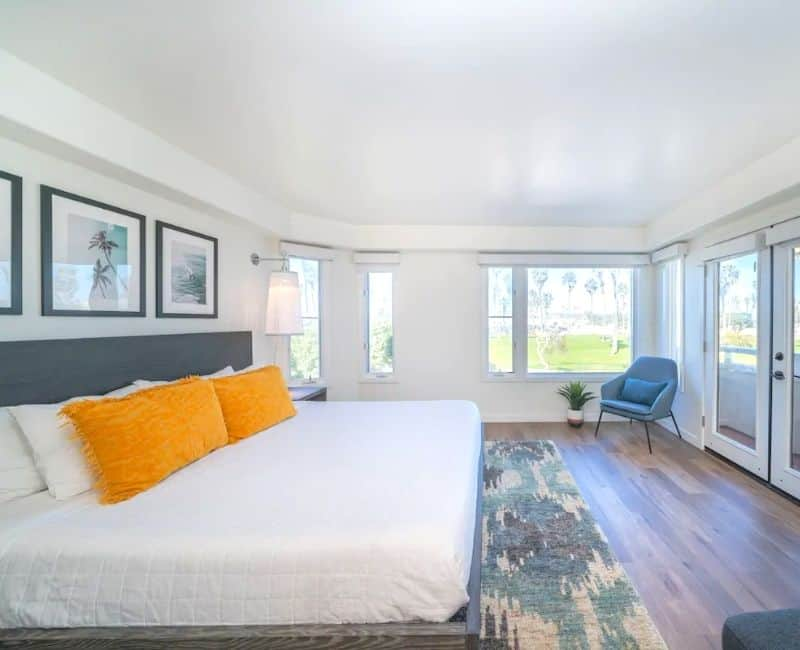 Mission Beach Panoramic View Bedroom - Clean and elegant with surf style art