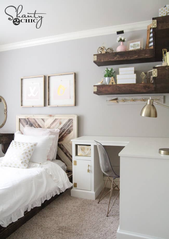 Small bedroom makeover with DIY floating shelving