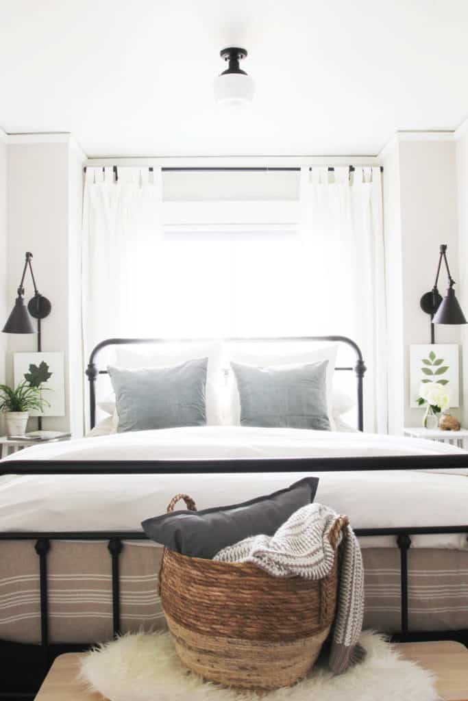 Small Bedroom From Pinterest - Mounted Black Light Fixtures and Small Bedside Tables