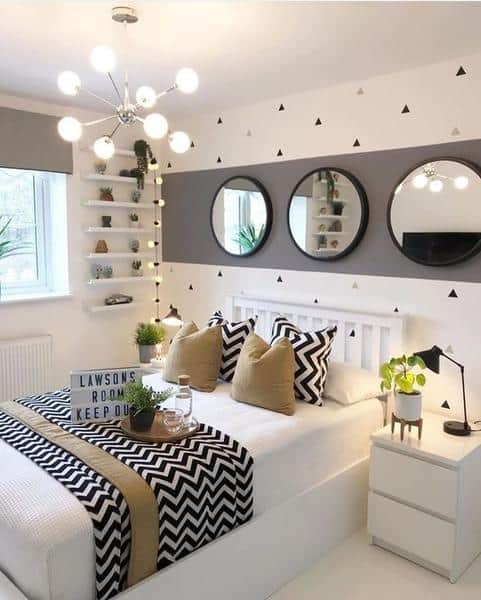 Small Bedroom White Black Tan and Round Mirrors