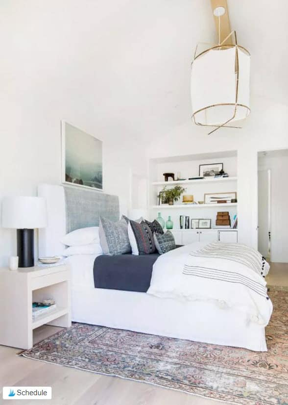 Small Master Bedroom White Built In Shelving