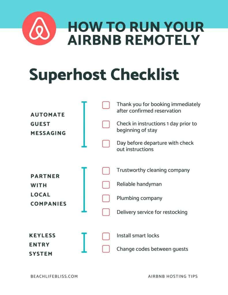 How To Run An Airbnb Remotely - Free Checklist PDF or JPG download