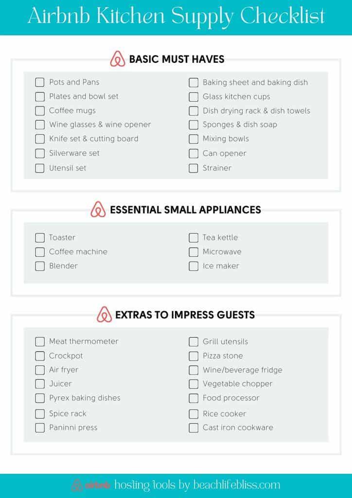 Airbnb Kitchen Checklist Free