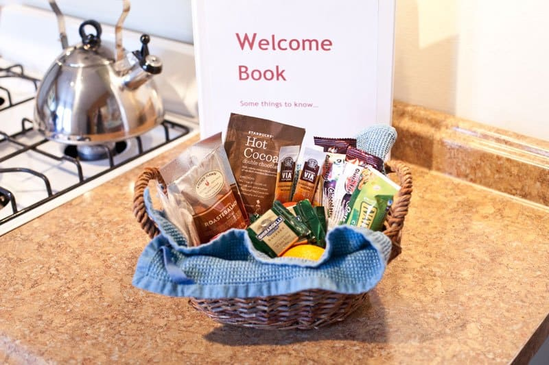 Vacation Rental Welcome Basket With Chocolates and Sweets