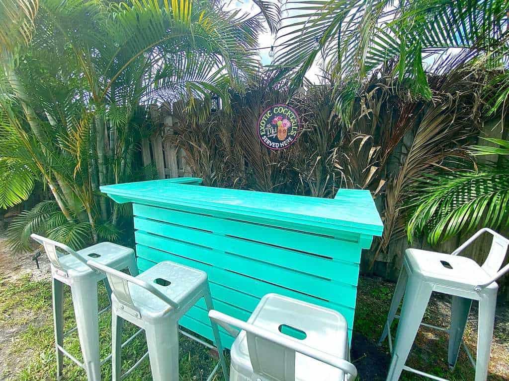 Exotic Cocktail Teal Tiki Bar