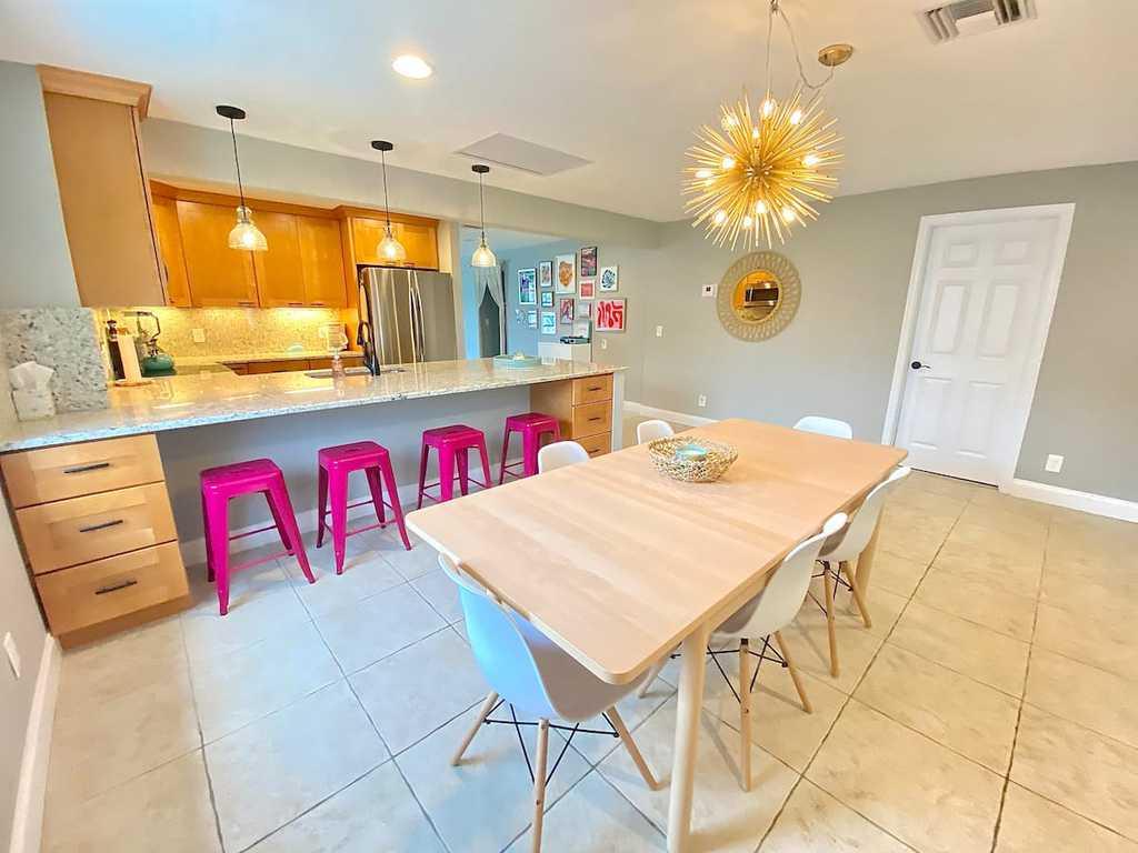 Koko Cabana House Kitchen White and Pink Bar Stools