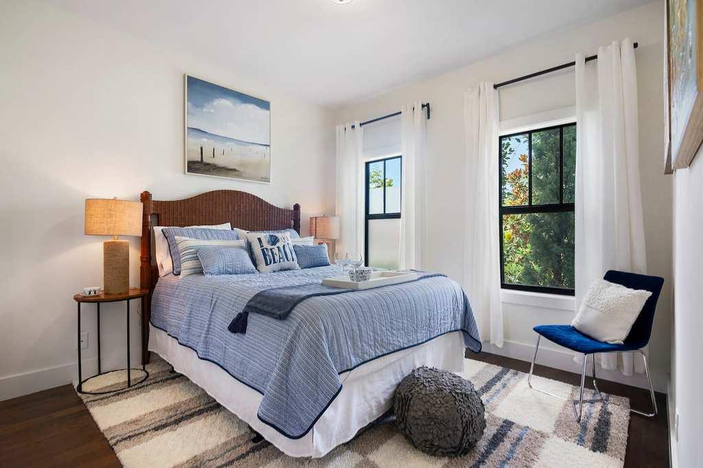 blue beach airbnb bedroom