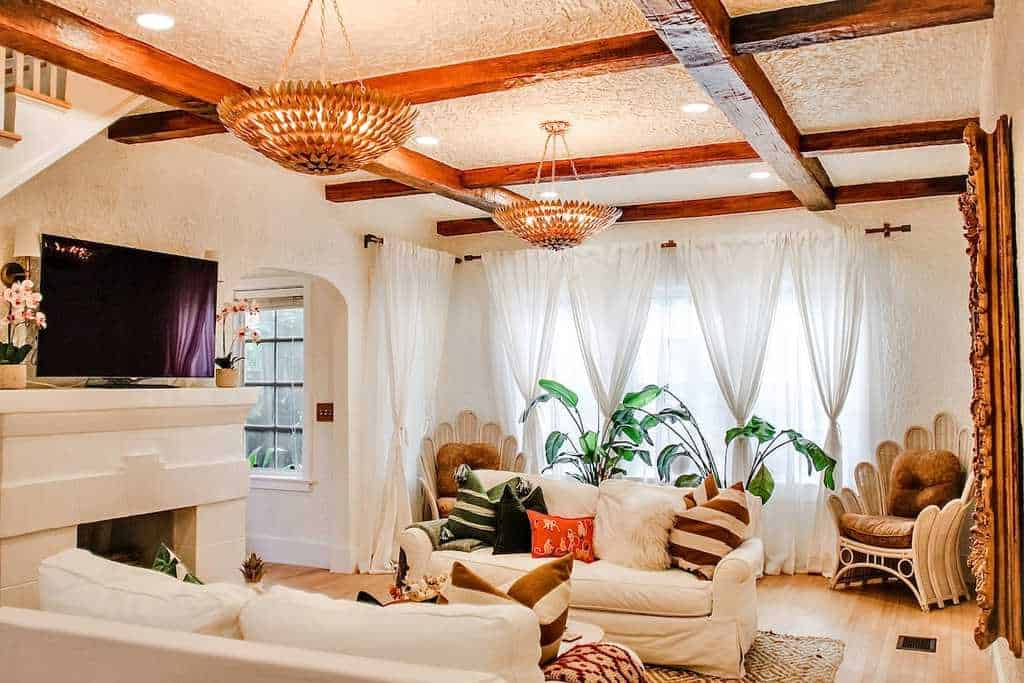 boho tropical grand airbnb living room