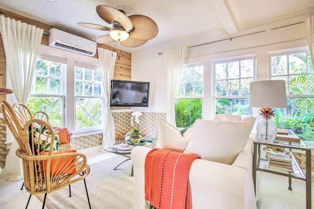 citrus cottage living room beige and orange tropical design