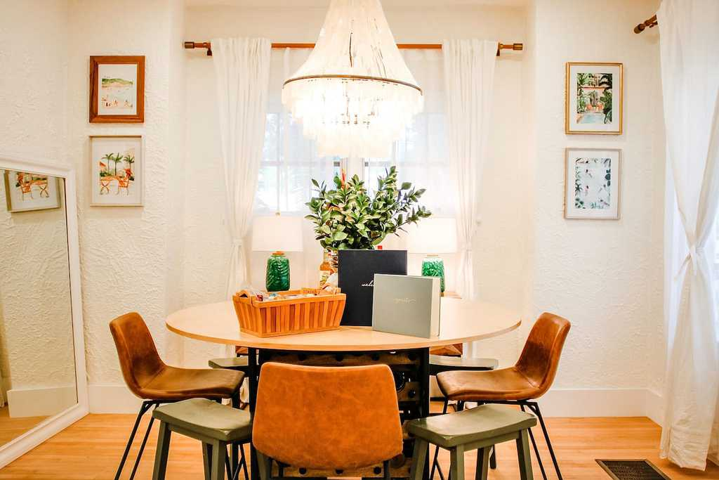 eclectic dining room in classic florida style airbnb