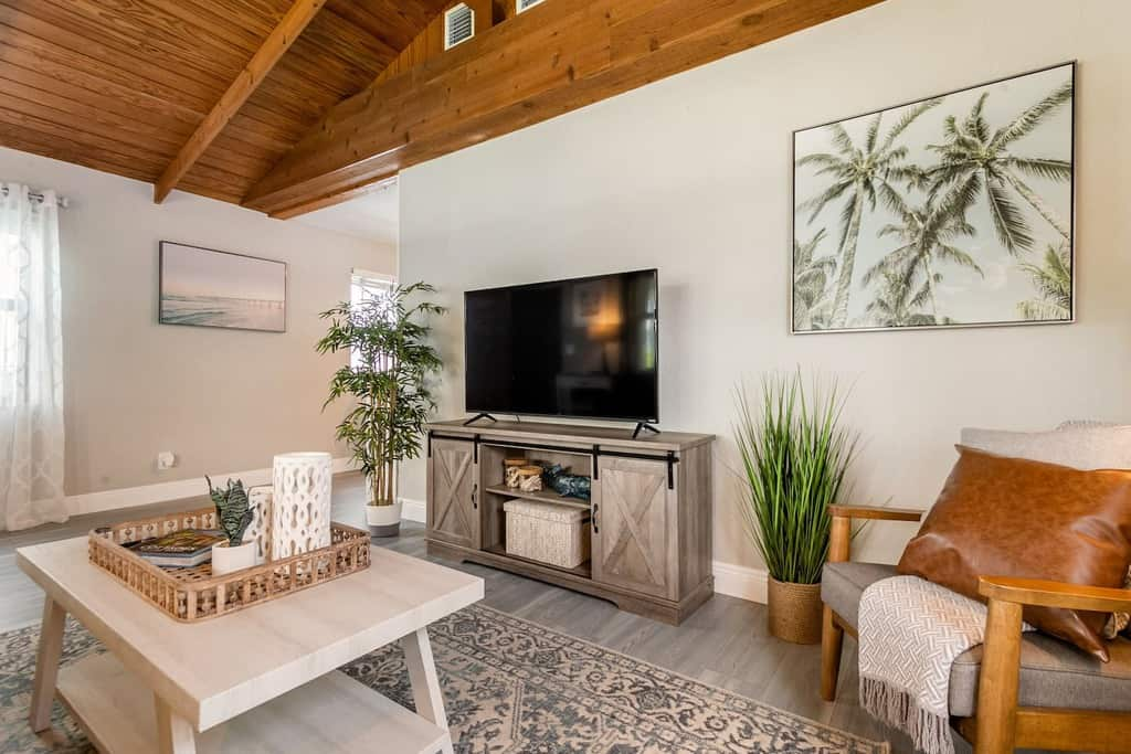 tropical neutral living room airbnb