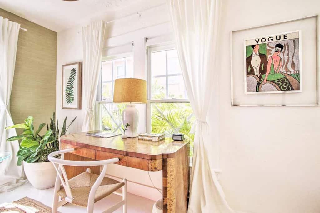 tropical office space in bedroom