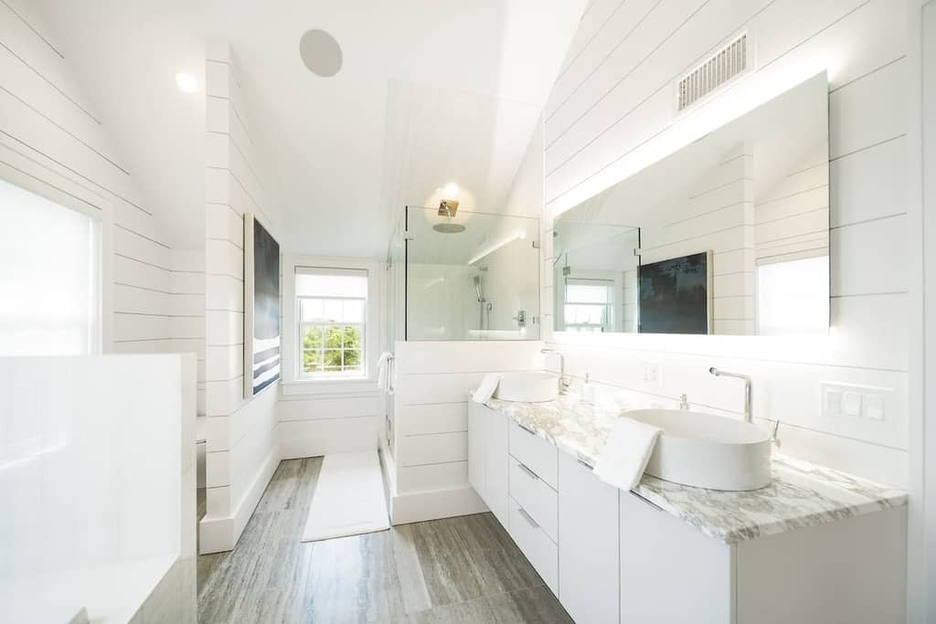 Airbnb Master Bathroom White Shiplap
