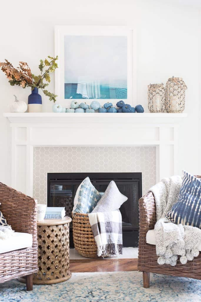 Coastal Fall Mantle With Different Blue Pumpkins For Halloween or Fall