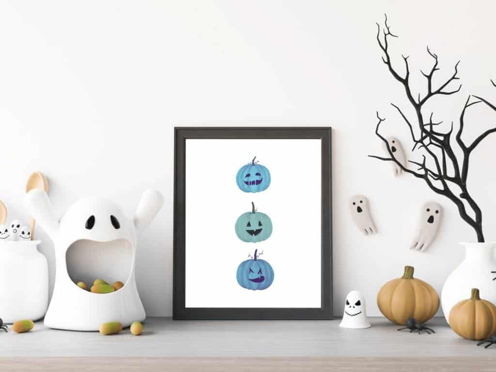 Coastal Halloween Pumpkins Print Etsy